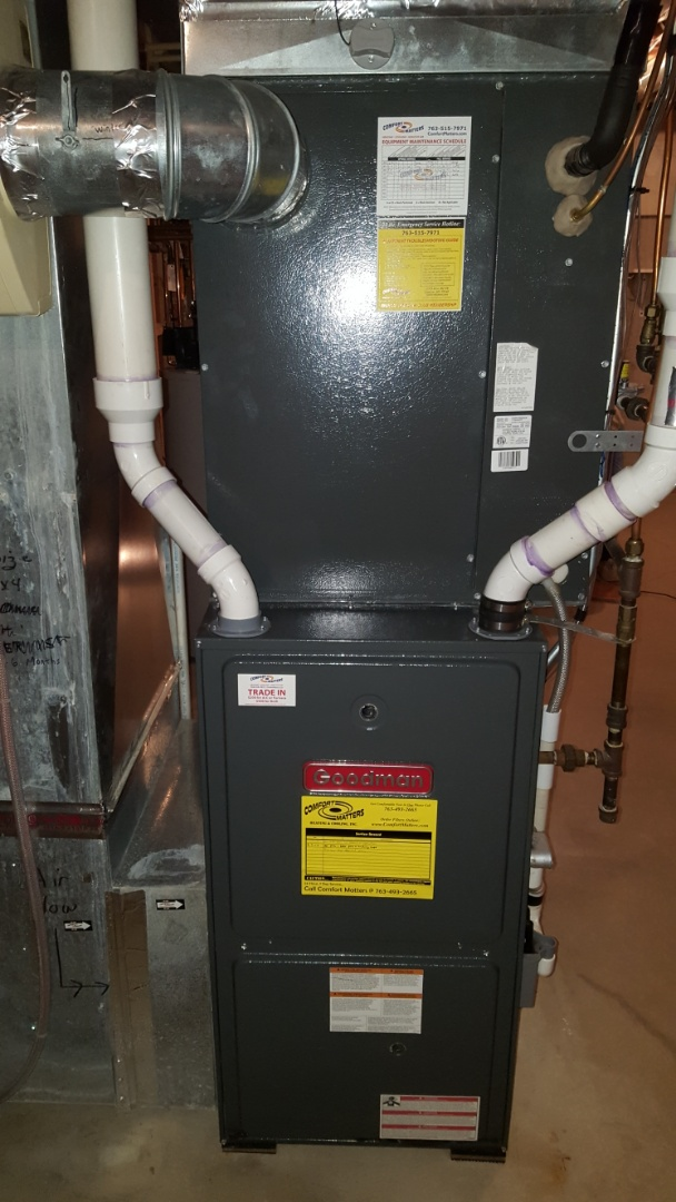 Golden Valley, MN - Furnace maintenance. Performed a cleaning and tune up on Goodman furnace. Also installed a flame sensor on the furnace and a humidifier media pad on an Aprilaire humidifier.