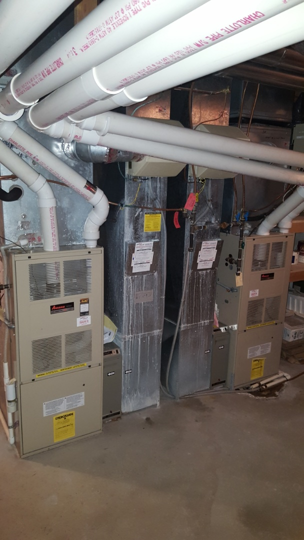 Edina, MN - Heating maintenance. Performed a cleaning and tune up on three Amana furnaces, a Slant/Fin boiler, two Venmar air exchangers, and three Aprilaire humidifiers.