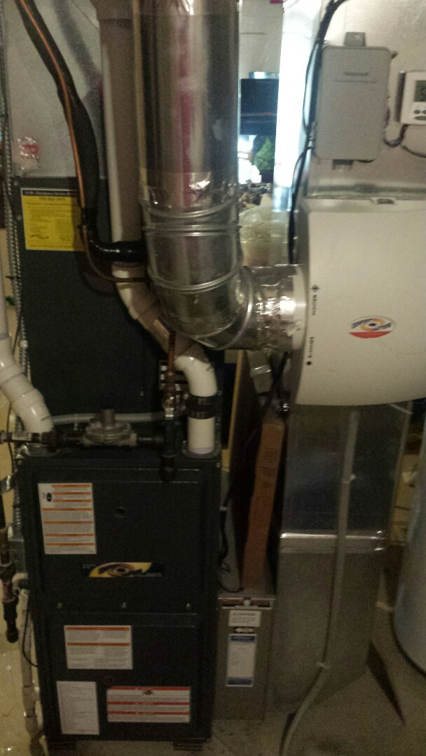 Montrose, MN - Furnace tune up and on a goodman unit and added a return grill to trunk line to increase airflow in Montrose
