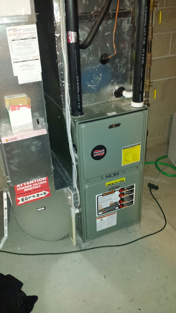 Becker, MN - Furnace tune up on 90+% efficient  Ruud unit in Becker