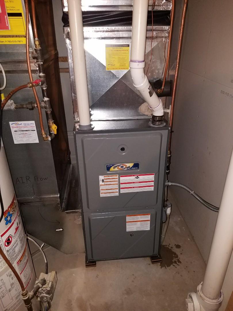 Otsego, MN - Furnace tune up on 95% efficient Amana unit in Otsego