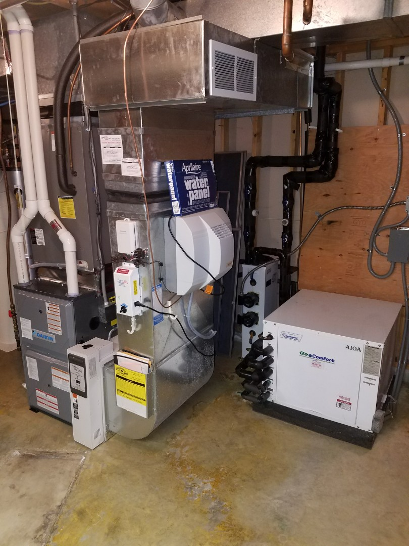 Loretto, MN - Heating maintenance. Performed a cleaning and tune up on a Daikin furnace and GeoComfort  geothermal heat pump.
