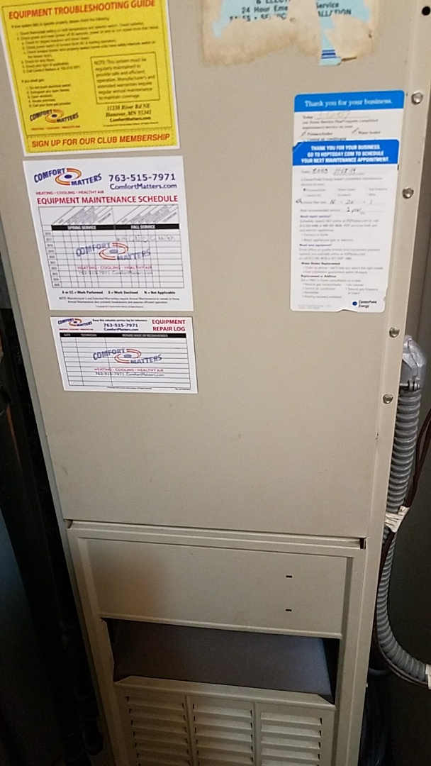 Monticello, MN - Furnace tune up on 80% carrier unit in Maple Grove