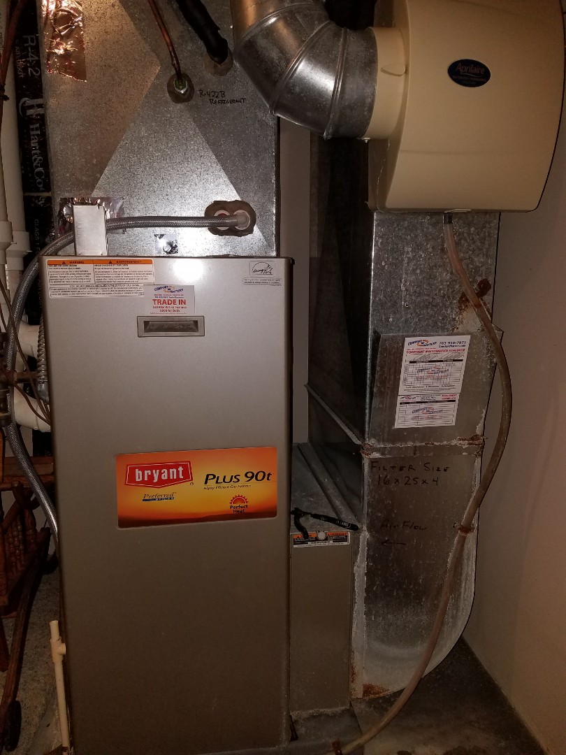 Blaine, MN - Bryant furnace tune up and clean.  Aprilaire humidifer flow regulator installed. Zone system issues