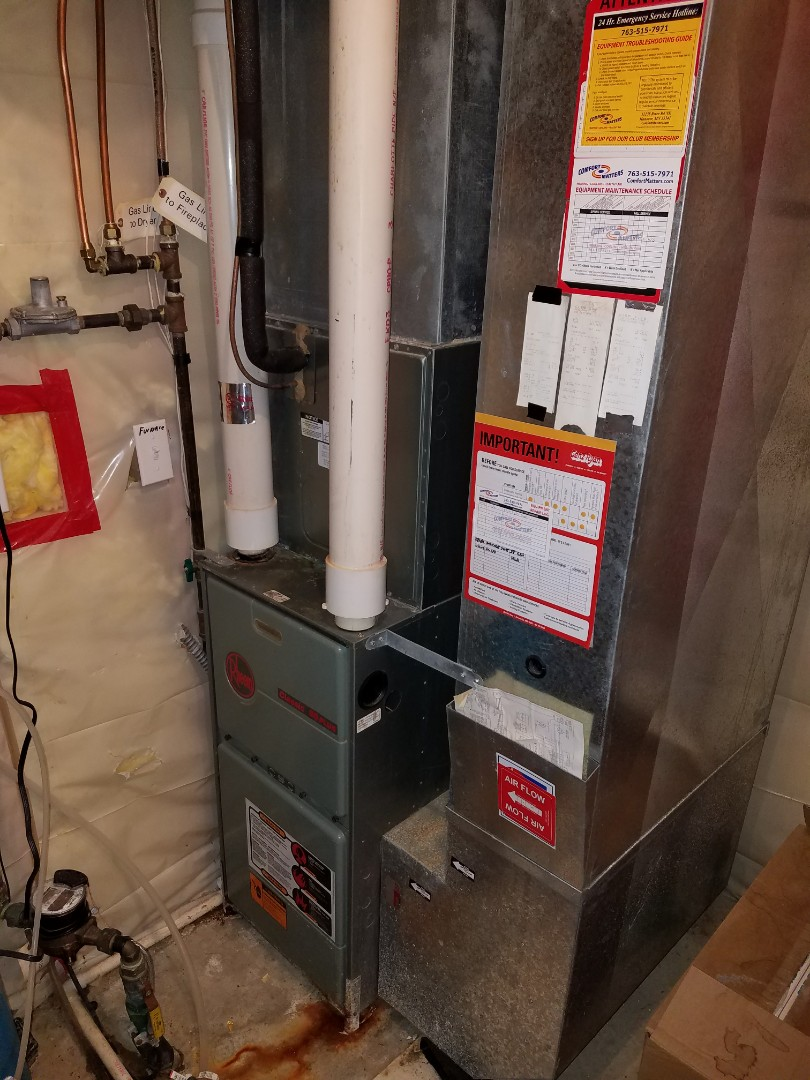 Maple Grove, MN - Heating service. Installed a flame sensor and performed a cleaning and tune up on a Rheem furnace.