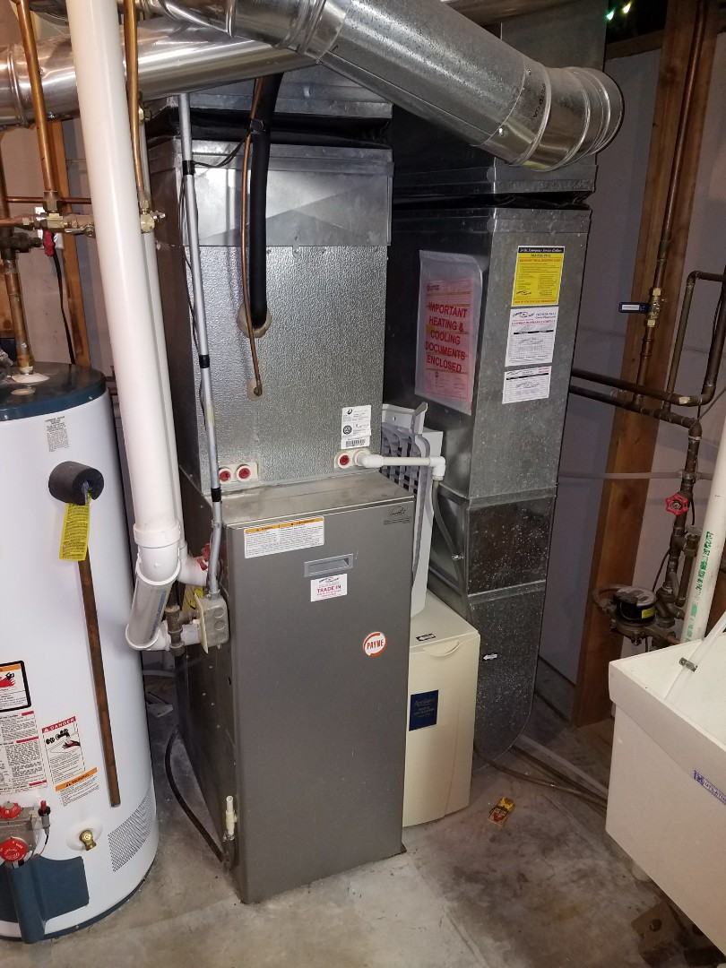 Maple Grove, MN - Furnace service. Cleared an intake pipe on a Payne furnace.