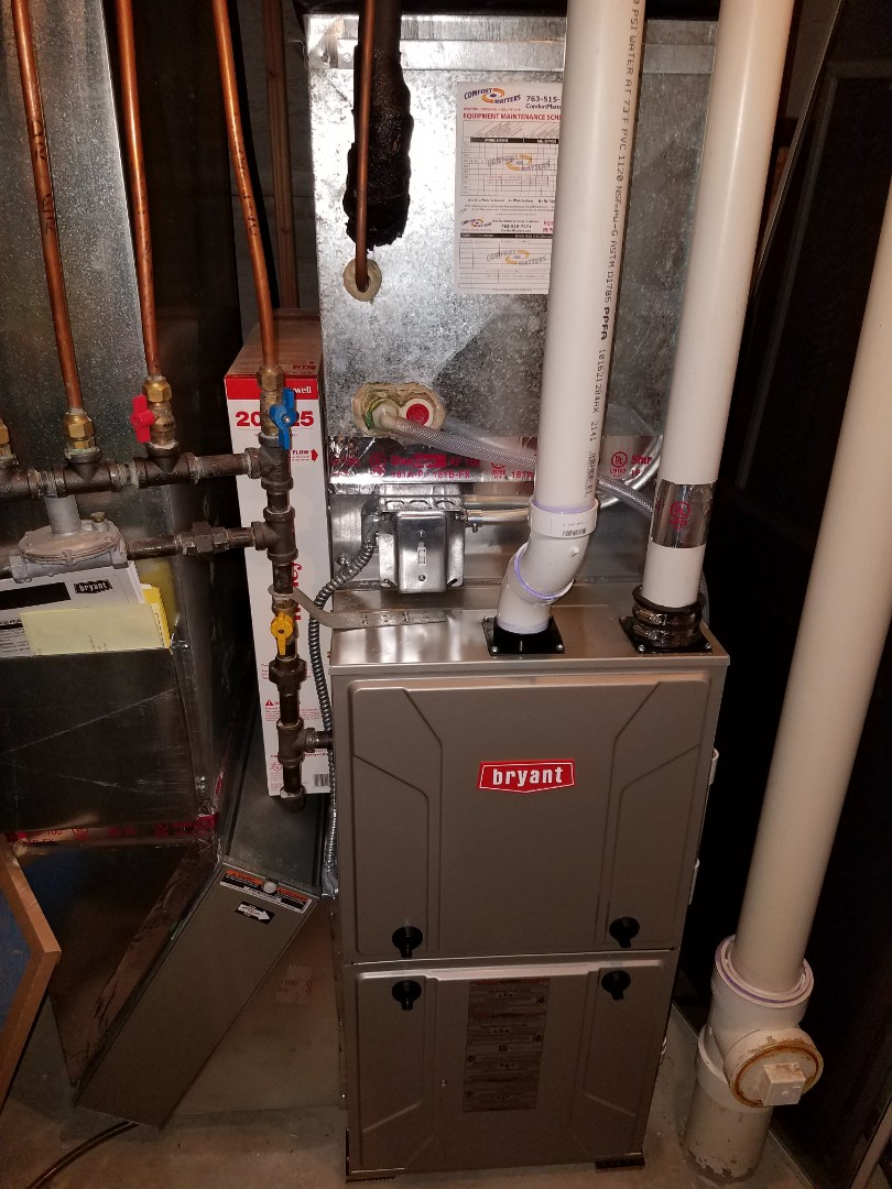 Rockford, MN - Furnace tune up on 90+% Bryant unit in Hanover