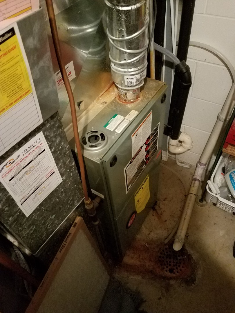 Maple Grove, MN - Furnace tune up on 80% rheem unit in Maple Grove