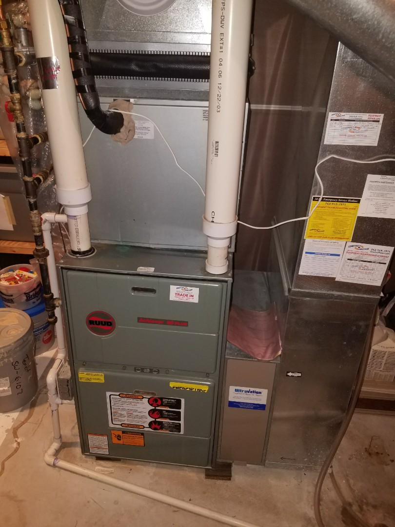 Hanover, MN - Heating maintenance. Performed a cleaning and tune up on a Ruud furnace and Honeywell humidifier. Also installed a water valve on the humidifier line.