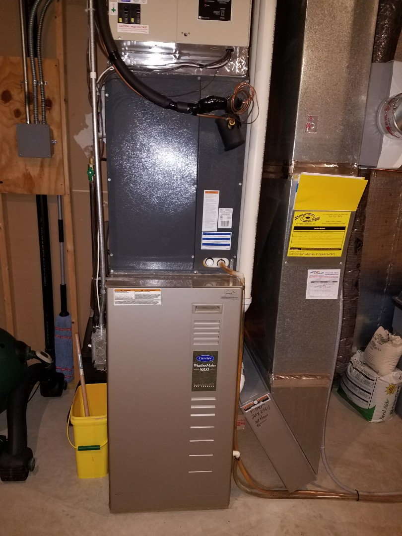 Loretto, MN - Heating maintenance. Performed a cleaning and tune up on Carrier furnace.