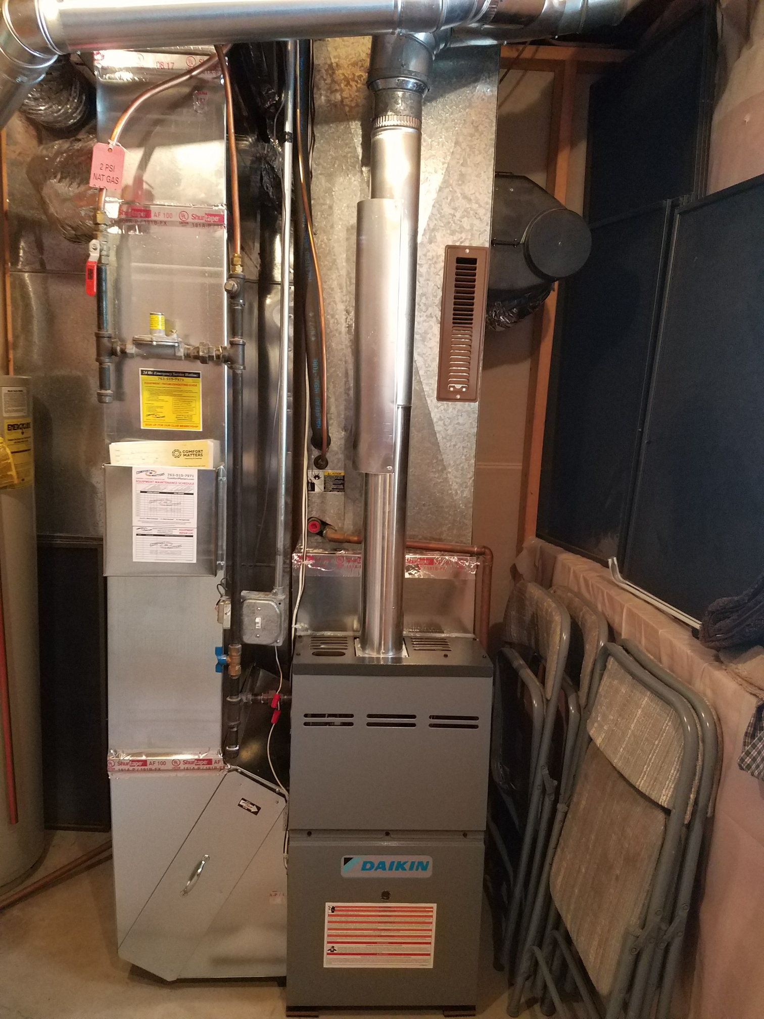 Elk River, MN - Install Daikin furnace with Honeywell T4 thermostat