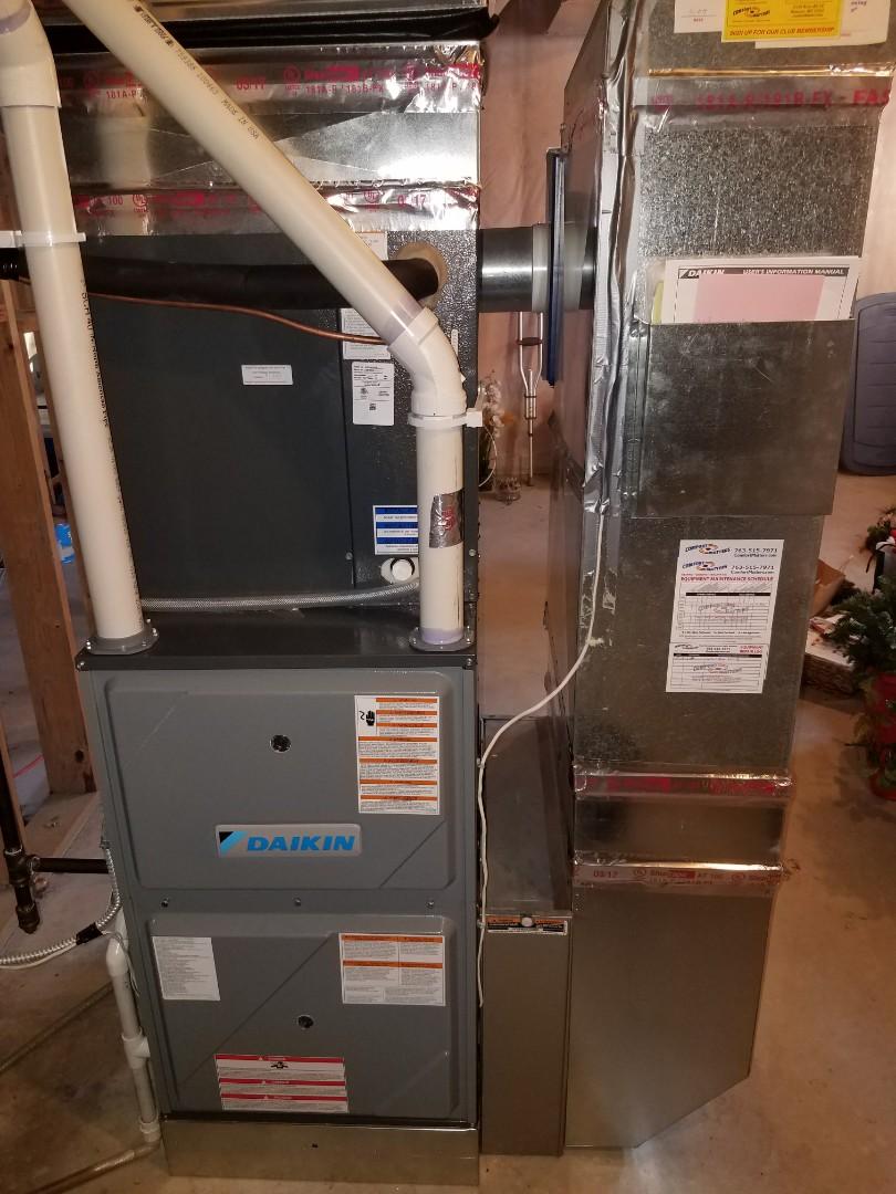 Eden Prairie, MN - Furnace tune up and clean on 96% efficient Daikin unit in Eden prairie