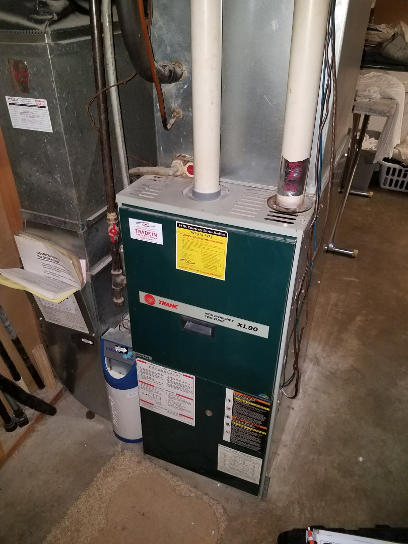 Hopkins, MN - Furnace tune up on 90% Trane unit in Maple Grove