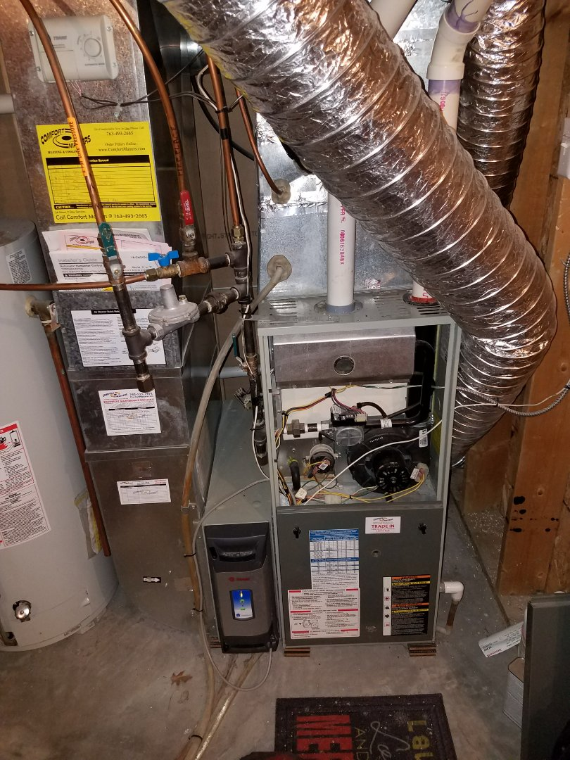 Ramsey, MN - Furnace tune up on 90+% Trane unit in Ramsey