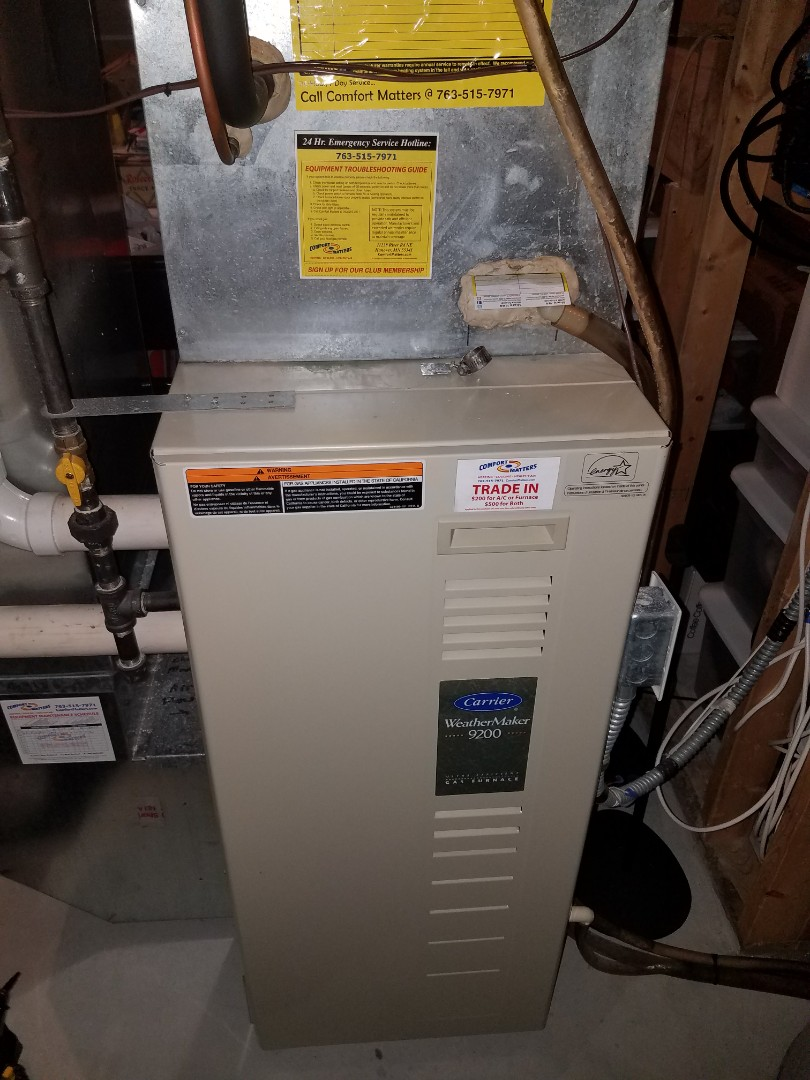 Hanover, MN - Furnace cleaning and tune up on a Carrier