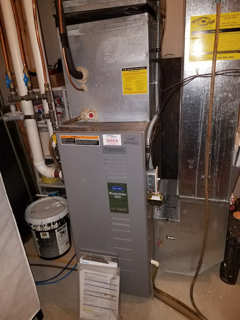 Saint Michael, MN - Carrier furnace tune up and clean. Venmar air exchanger tune up and clean