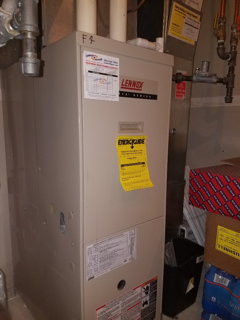 Plymouth, MN - No heat call on Lennox unit in Plymouth. Found plugged drain line causing heat issues. Performed heating tune up and returned operation