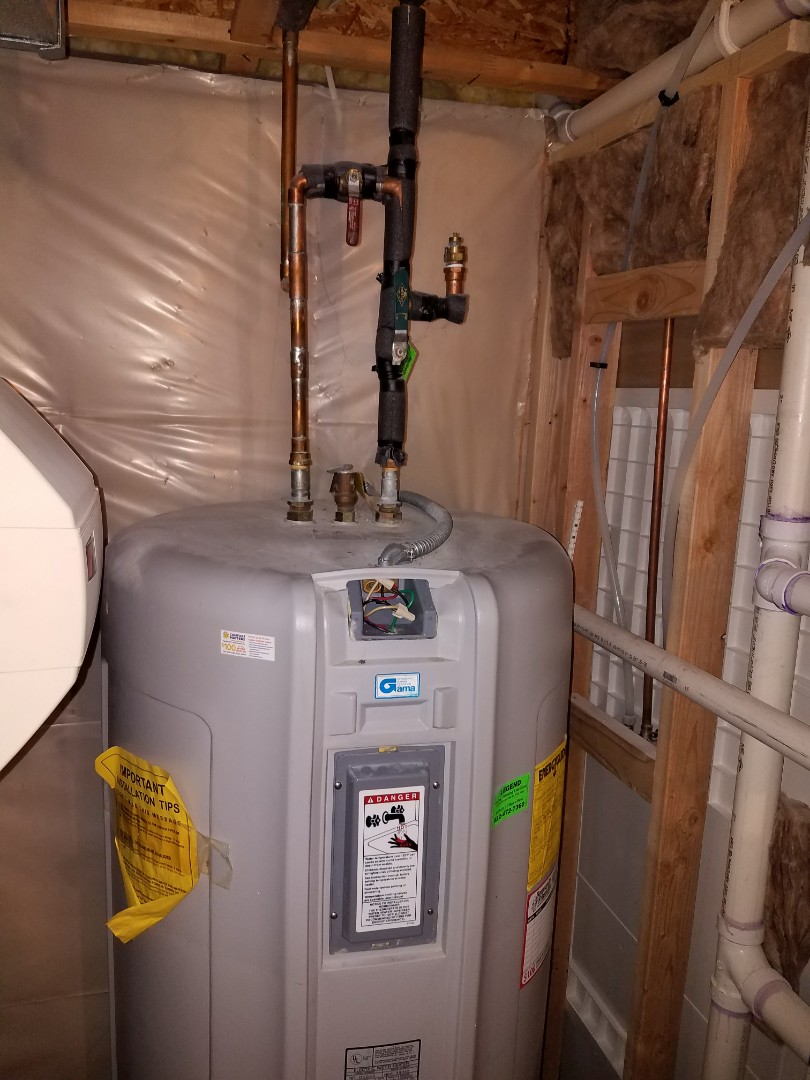 Maple Grove, MN - Water heater service. Install a temperature mixing valve on a Marathon electric water heater.