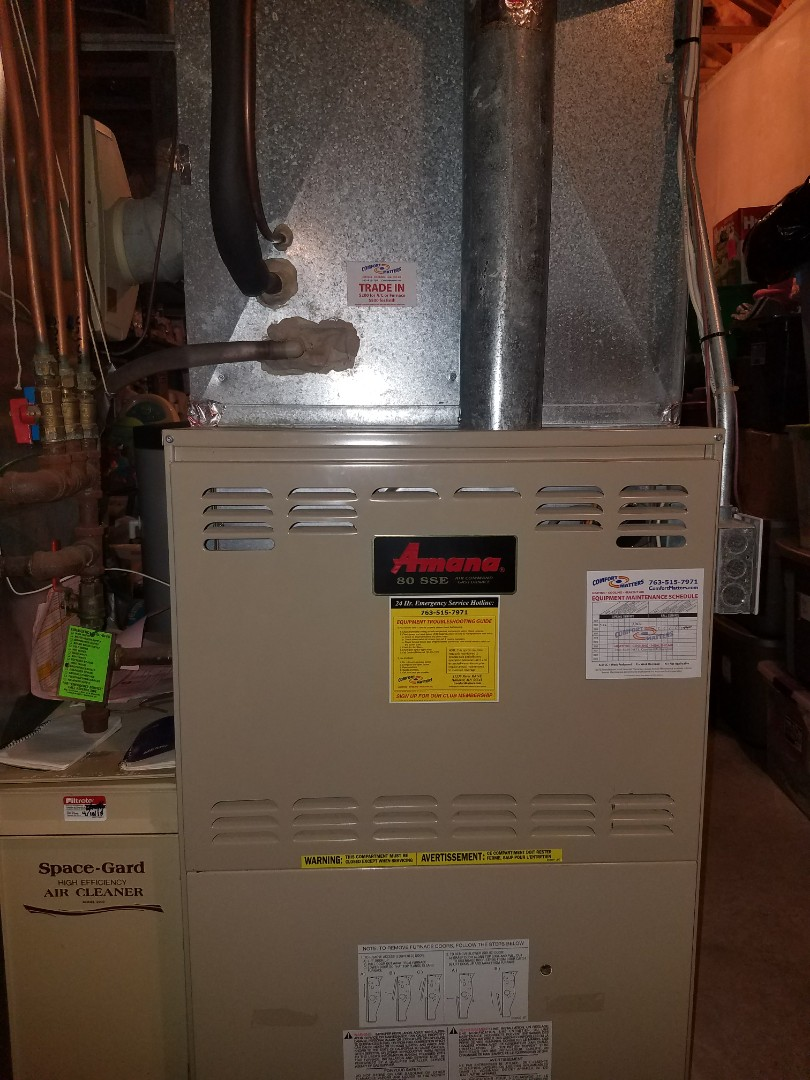 Loretto, MN - Furnace tune up on 80% Amana unit in greenfield