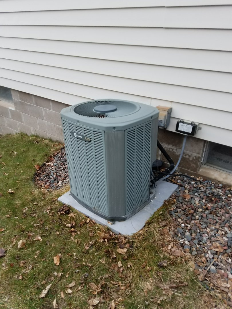 Maple Grove, MN - Trane system tune up. Borh furnace and ac. Removed and cleaned blower wheel. Upgraded filter to electronic air cleaner