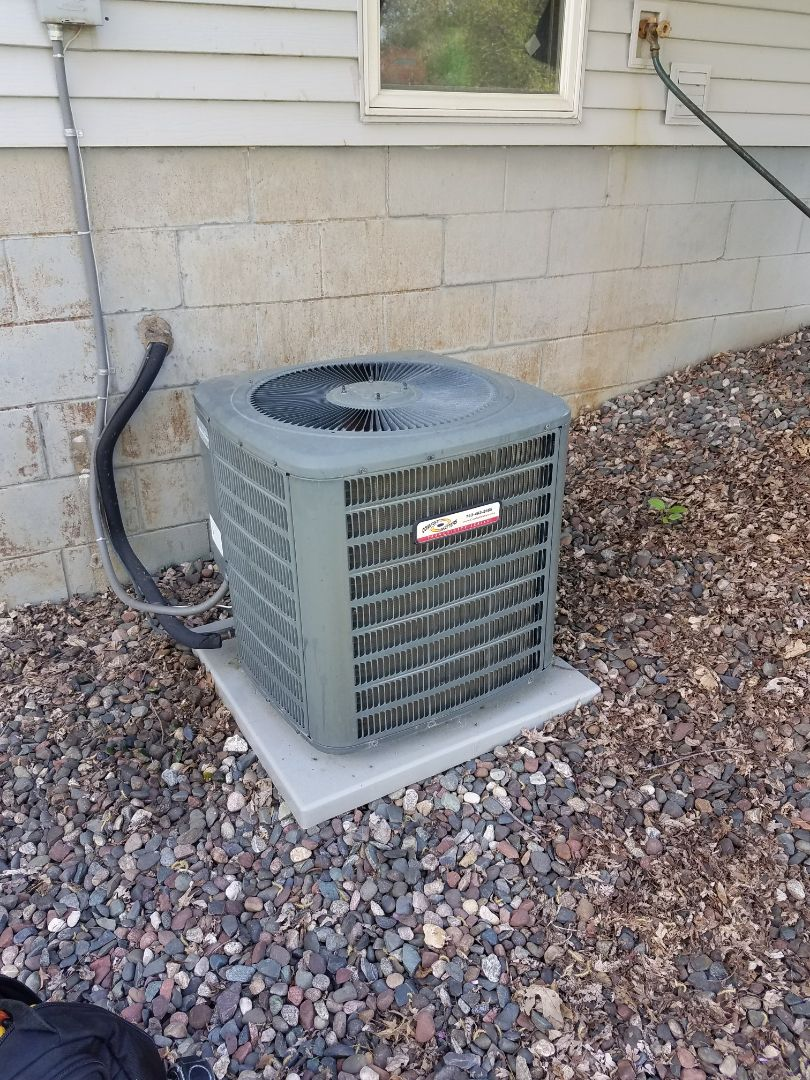 Plymouth, MN - AC warranty service. Installed two schrader cores on a Comfort Matters air conditioner.
