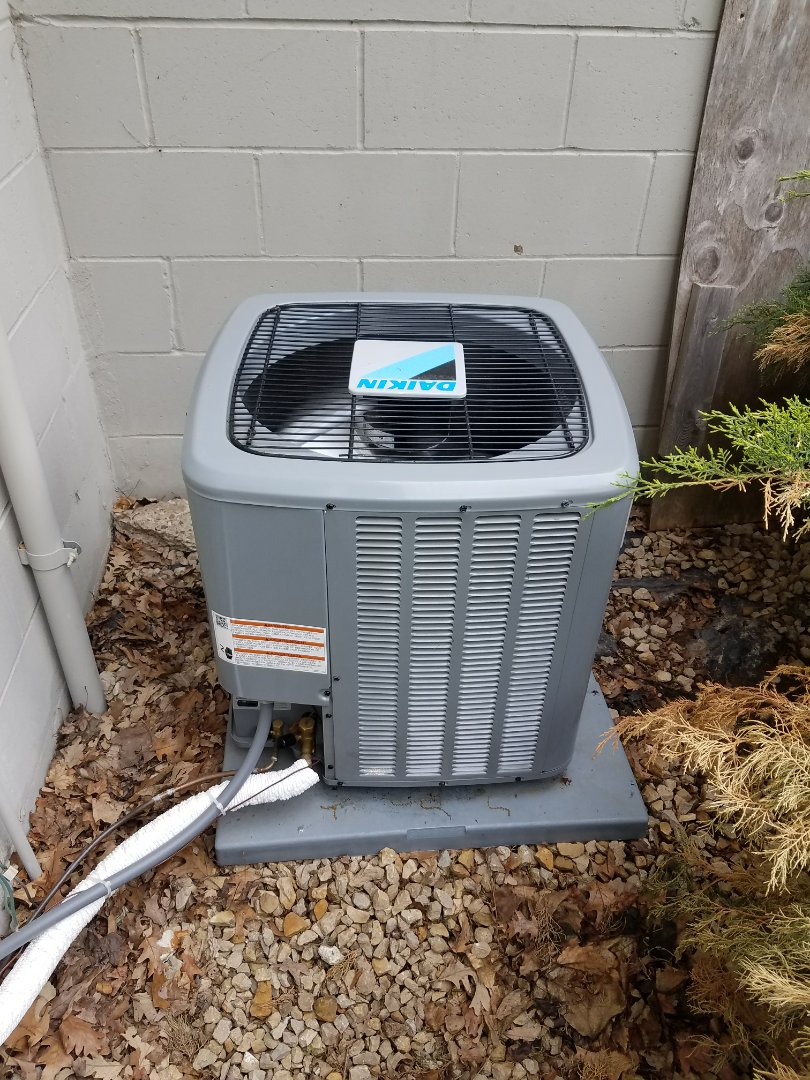 Maple Grove, MN - Air conditioner maintenance. Performed an AC start up and operation check on a Daikin a/c.