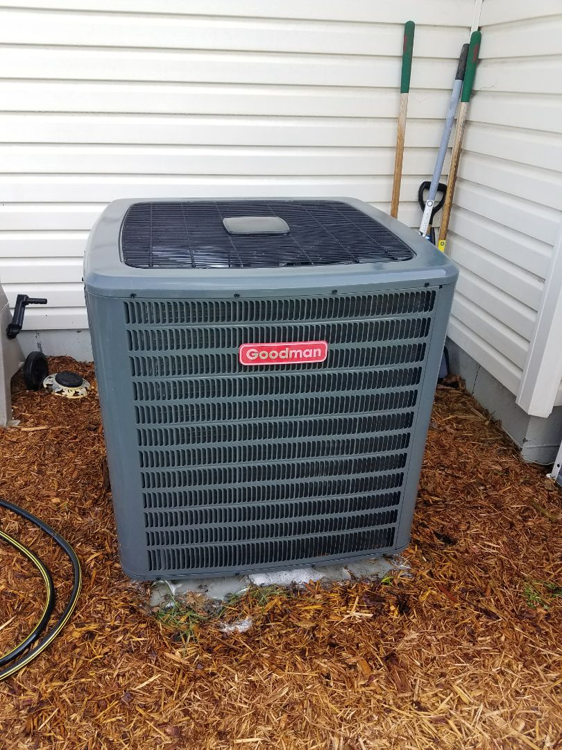 Plymouth, MN - Air conditioner service. Performed a cleaning and tune up on a Goodman A.C. Also diagnosed a failing thermostat and installed a UV bulb.