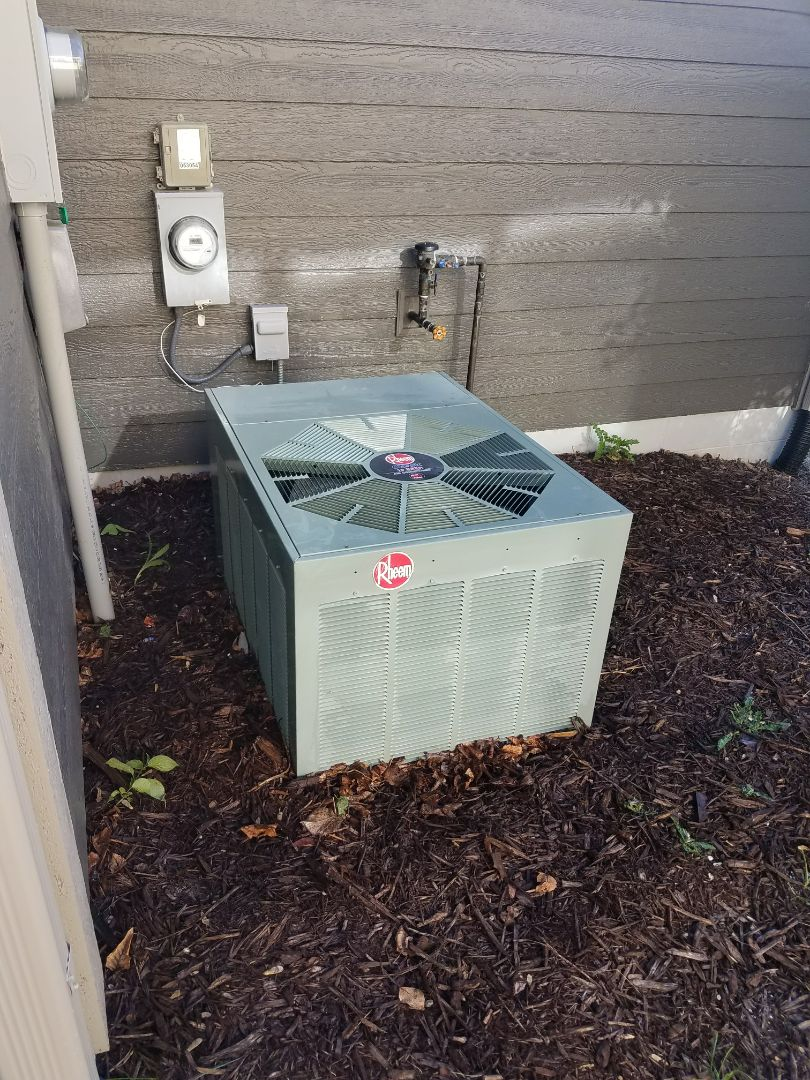 Saint Michael, MN - AC service. Performed a cleaning and tune up on a Rheem air conditioner and on a Venmar air exchanger.