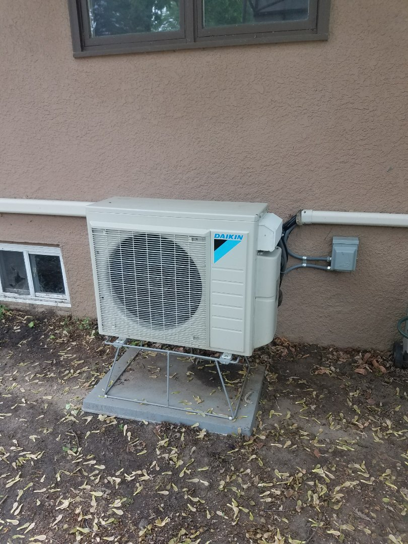 Golden Valley, MN - Air conditioner service. Performed a leak repair in a Daikin mini split heat pump.