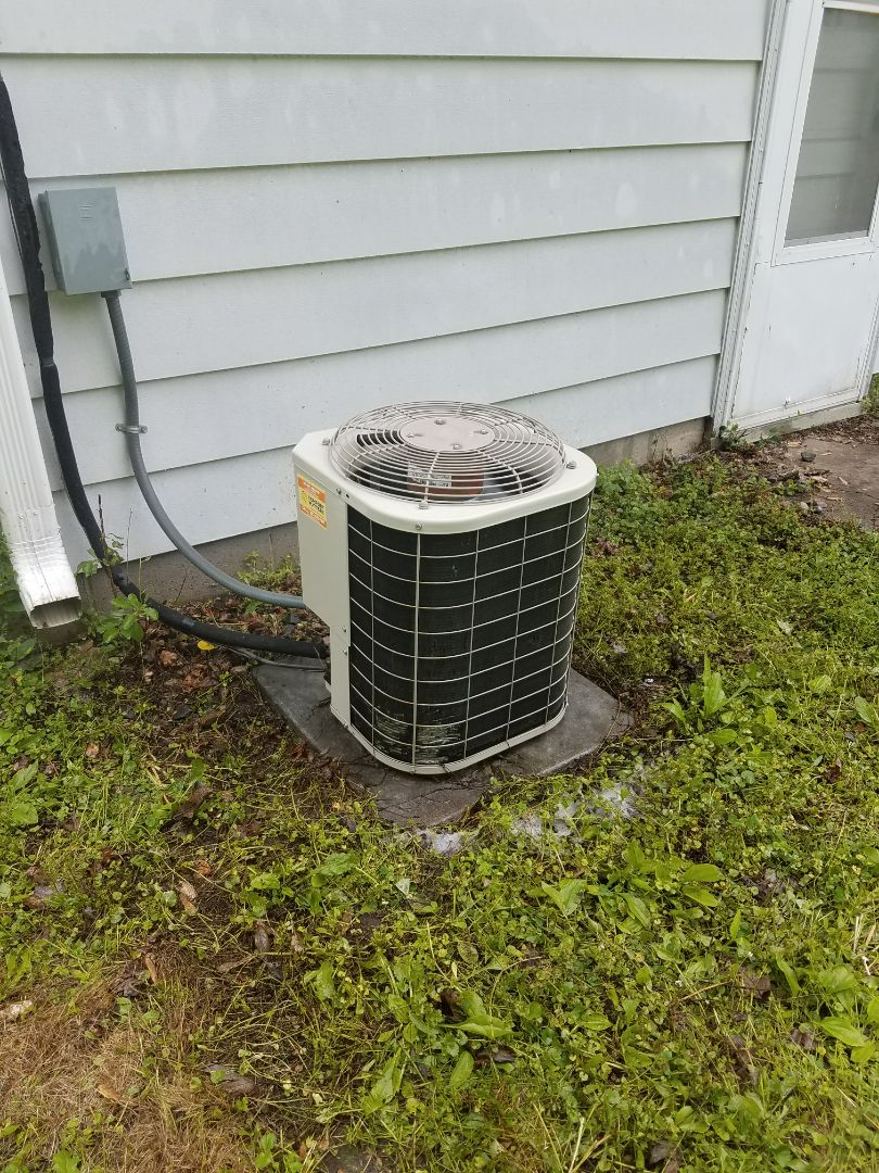 Golden Valley, MN - AC service. Performed a cleaning and tune up a Bryant air conditioner and installed a capacitor.