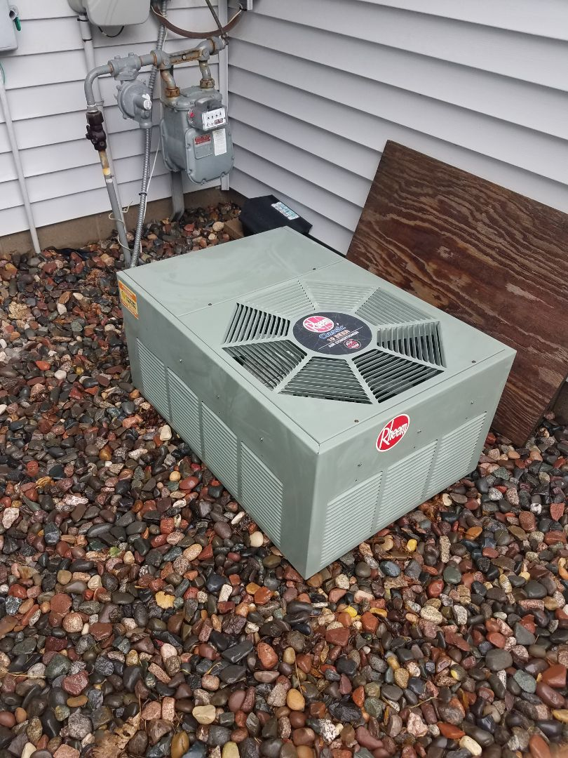 Maple Grove, MN - AC maintenance. Performed a cleaning and tune up on a Rheem air conditioner.