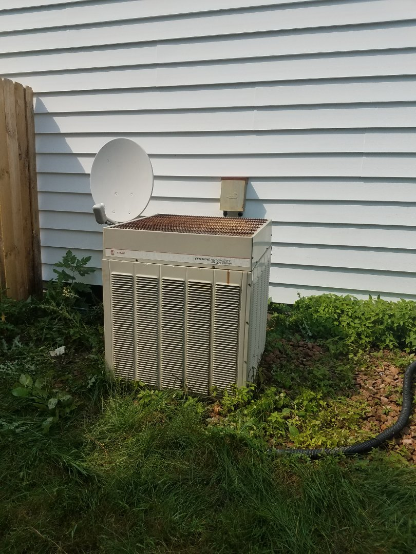 Maple Grove, MN - Air conditioner service. Performed a cleaning and tune up and installed a motor booster on a Trane AC. Also performed a blower wheel cleaning on a GE furnace.