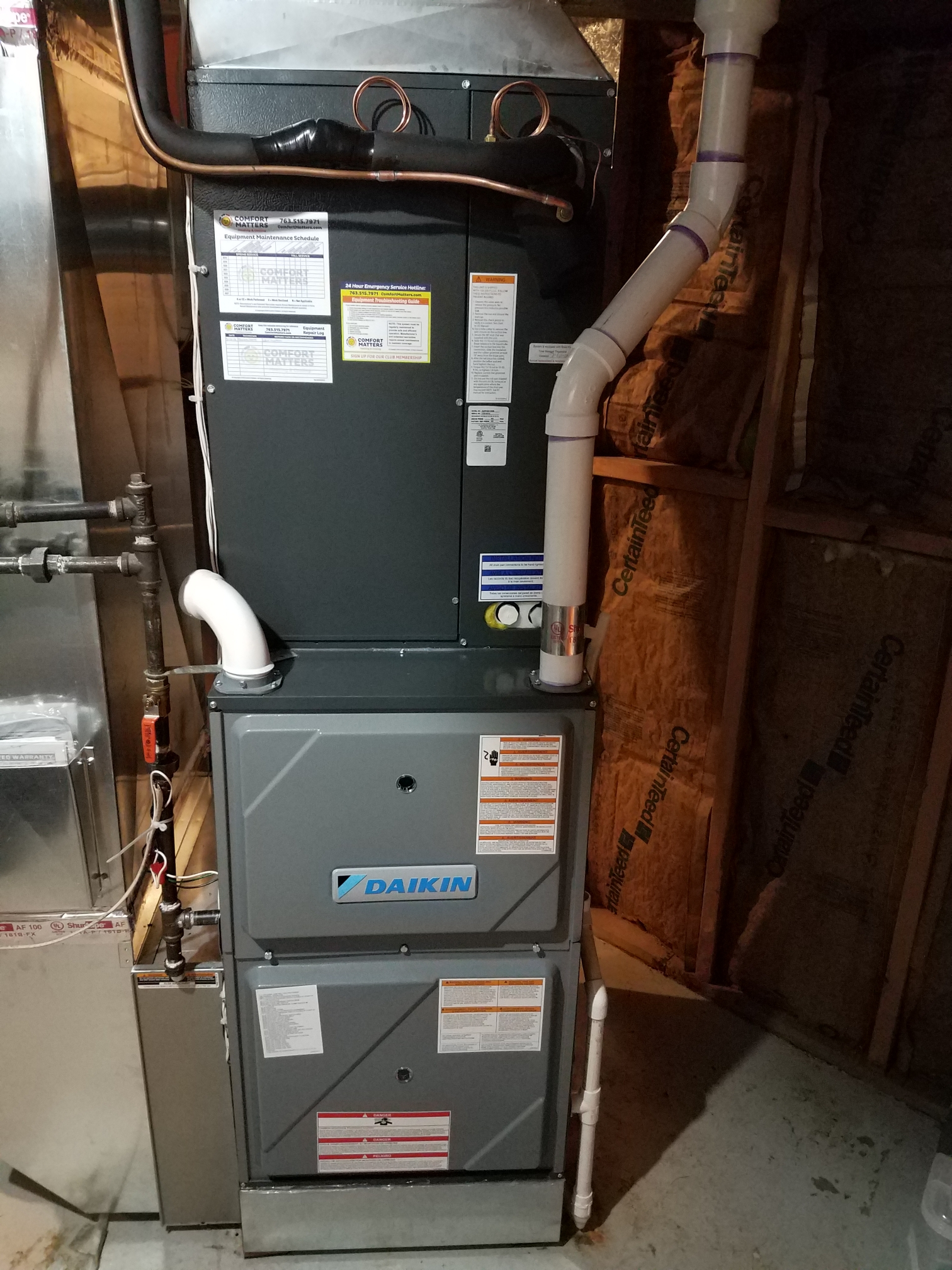 Maple Grove, MN - Installed Daikin furnace and air conditioner