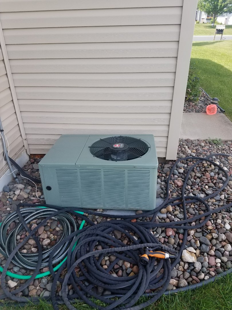 Osseo, MN - A/C tune up and clean on rheem condensing unit in Maple Grove