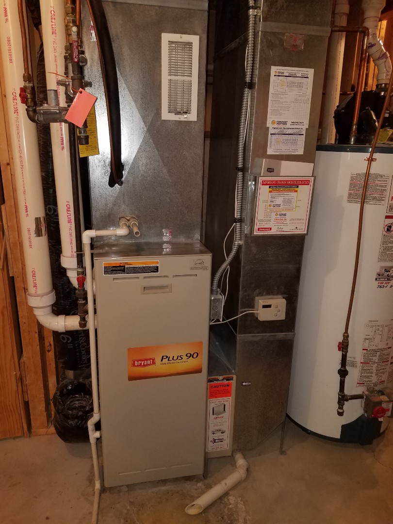 Otsego, MN - Furnace and air conditioning service. Performed a cleaning and tune up on a Bryant AC and furnace. Also performed a blower wheel cleaning and installed a flame sensor and igniter on the Bryant furnace.