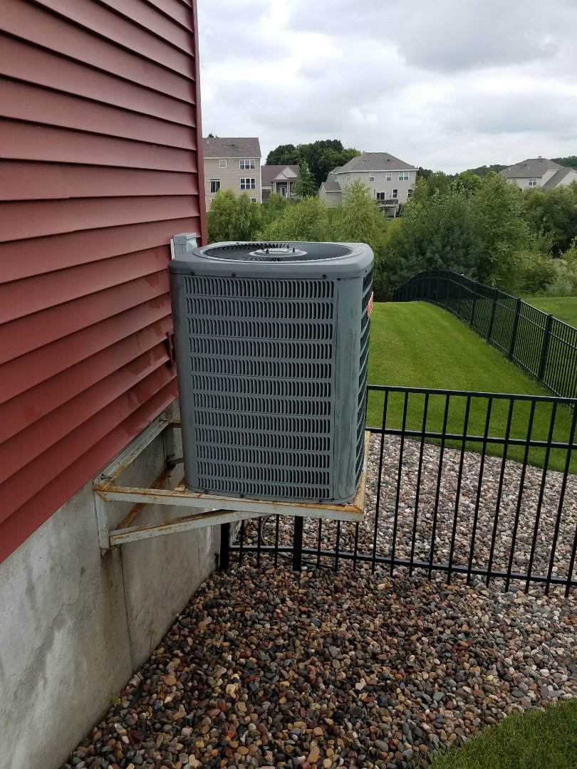 Elk River, MN - No cooling call in elk river. Found failed motor booster on Goodman condensing unit. Replaced failed part with new one, test operation, system is now cooling and operating