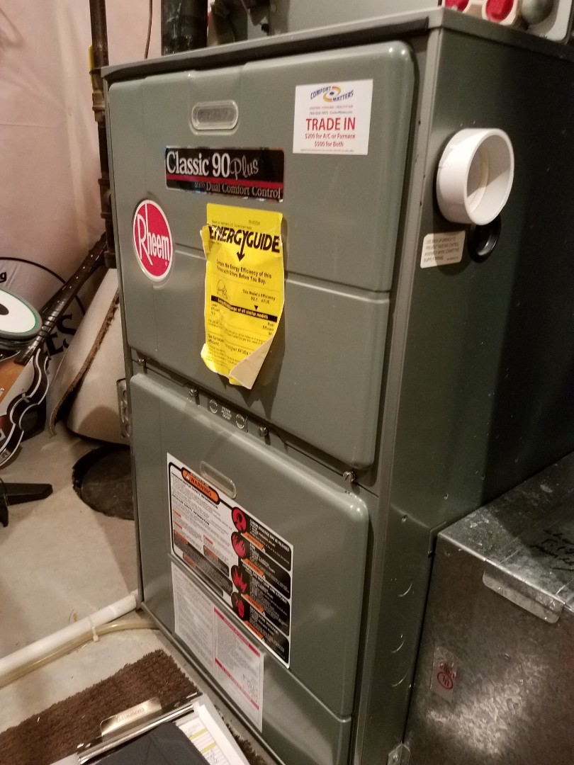 Rogers, MN - Furnace tune up and clean on rheem unit in Roger's. Installed gas stop in fireplace.