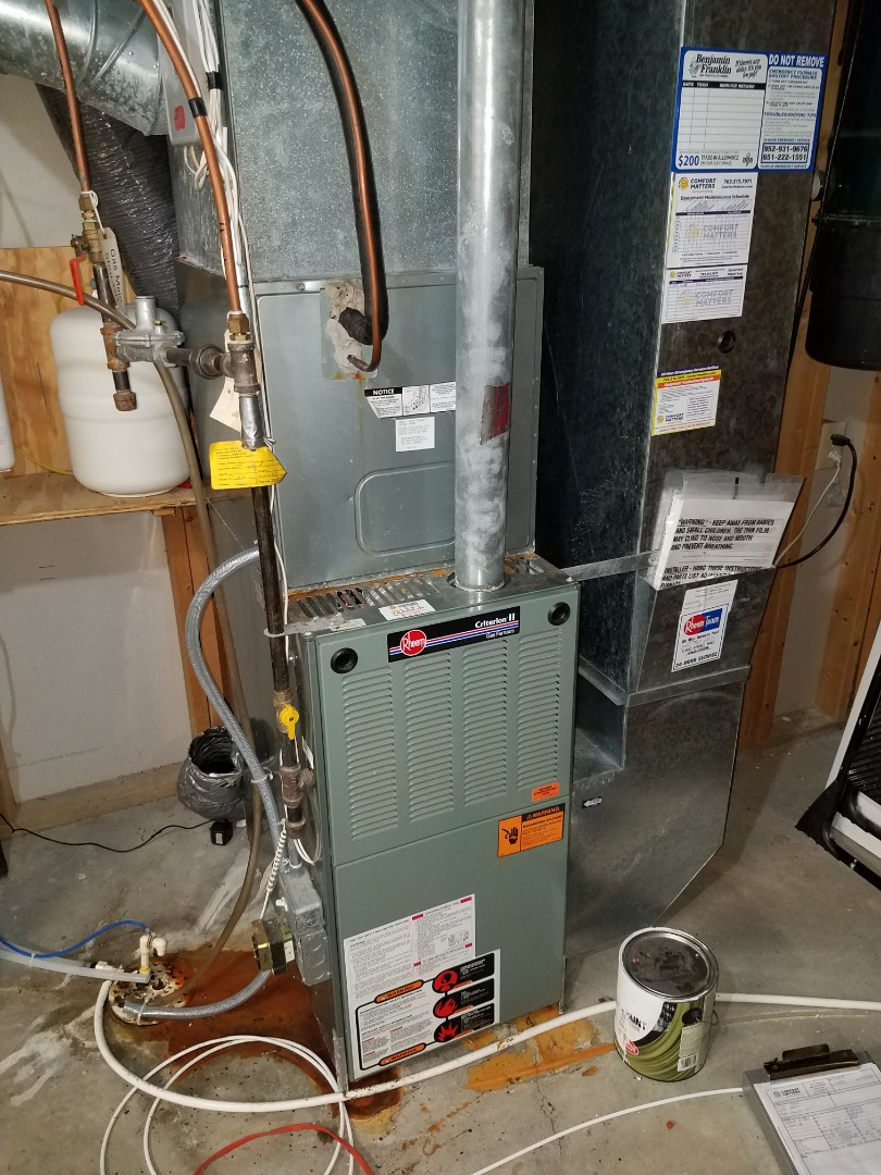 Maple Grove, MN - Furnace tune up and clean on rheem furnace. HRV tune up and clean on venmar unit in Maple Grove