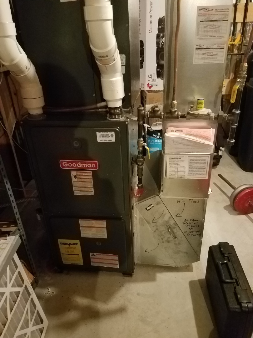 Hanover, MN - Furnace and ac tune up on Goodman system in Hanover