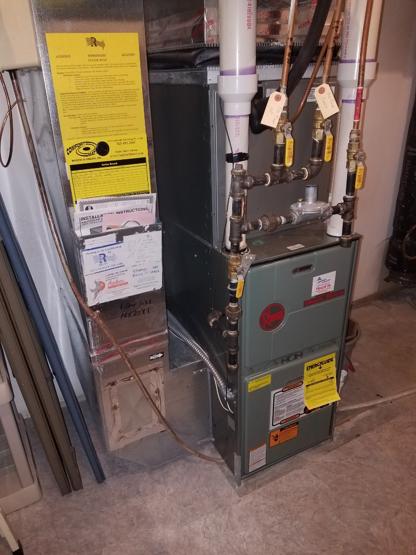 Osseo, MN - Furnace service. Performed a cleaning and tune up on a Rheem furnace. Also installed a drain line on the Aprilaire humidifier and the Venmar air exchanger.