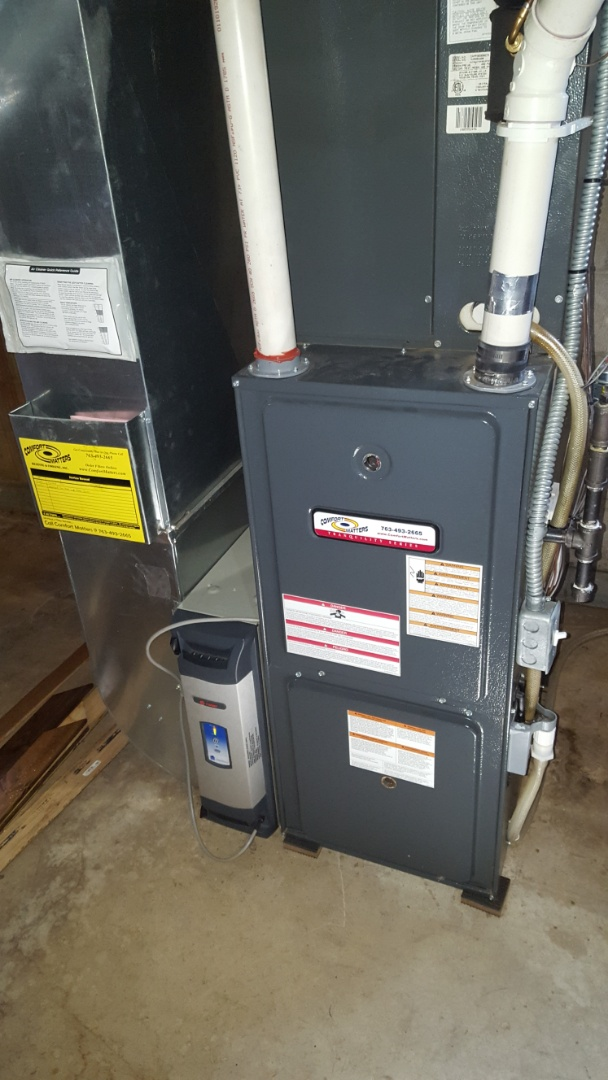 Osseo, MN - Furnace service. Performed a condensate drain assembly cleaning on a Comfort Matters furnace.