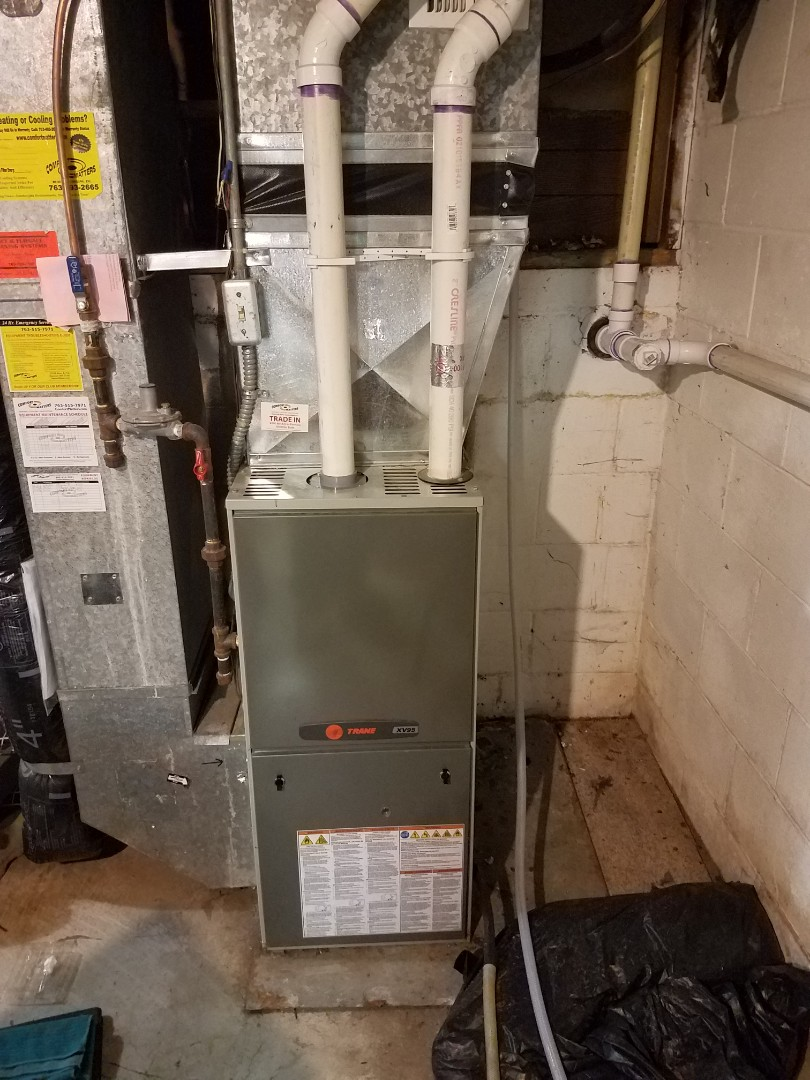 Osseo, MN - Furnace tune up and clean on 90+% trane unit in Dayton