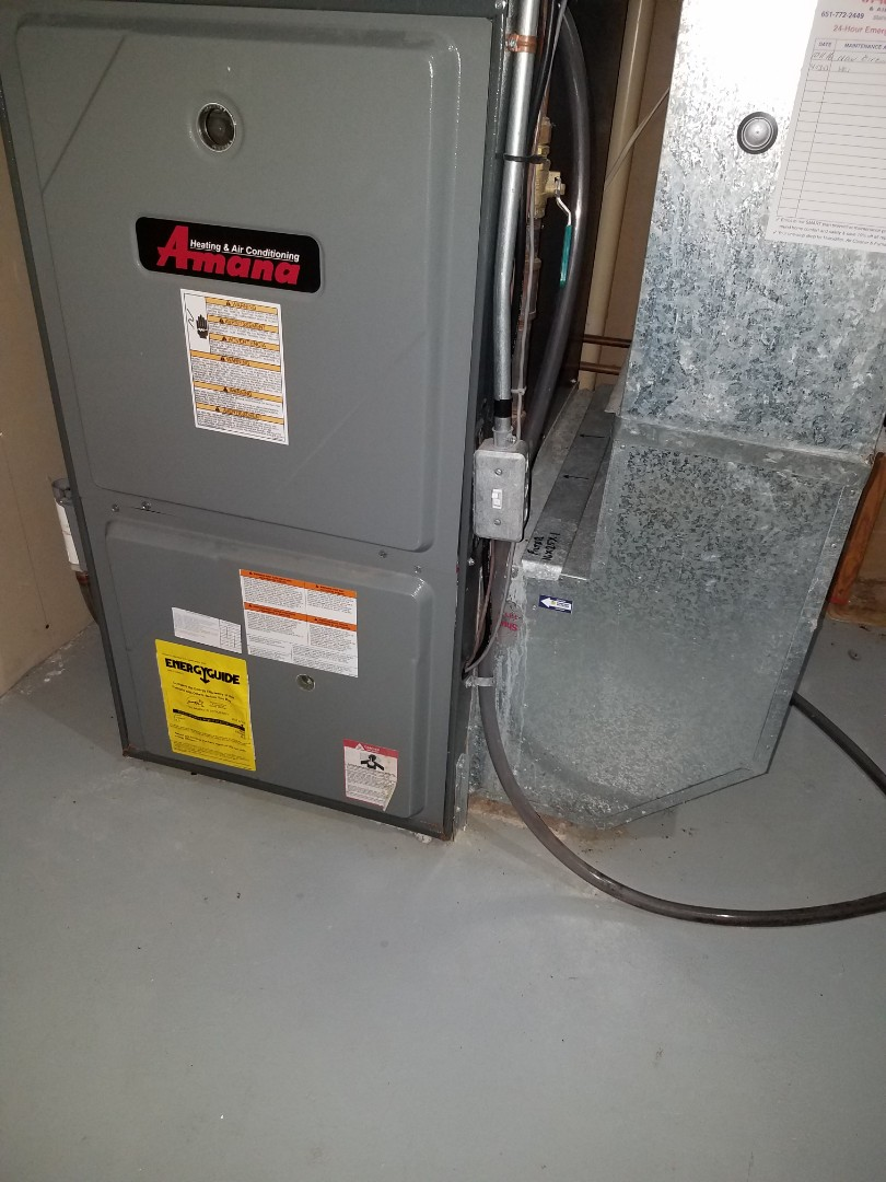 Corcoran, MN - No heat call on amana furnace. Found a crack In the collection box that caused water to damage control board. Replaced collector box, Installed a new control board and it ignitor and tested operation in Corcoran