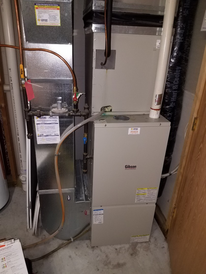Albertville, MN -  Furnace service. Performed a cleaning and tune up on a Gibson furnace and installed an anode rod on a Richmond water heater.