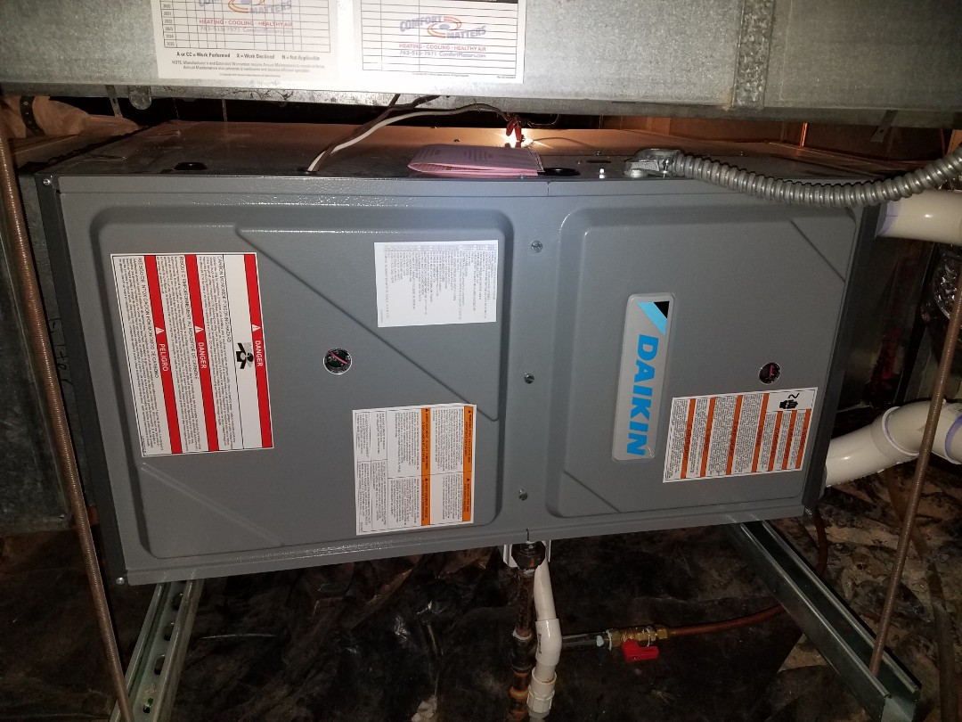 Buffalo, MN - Furnace maintenance. Performed a cleaning and tune up on a Daikin furnace.