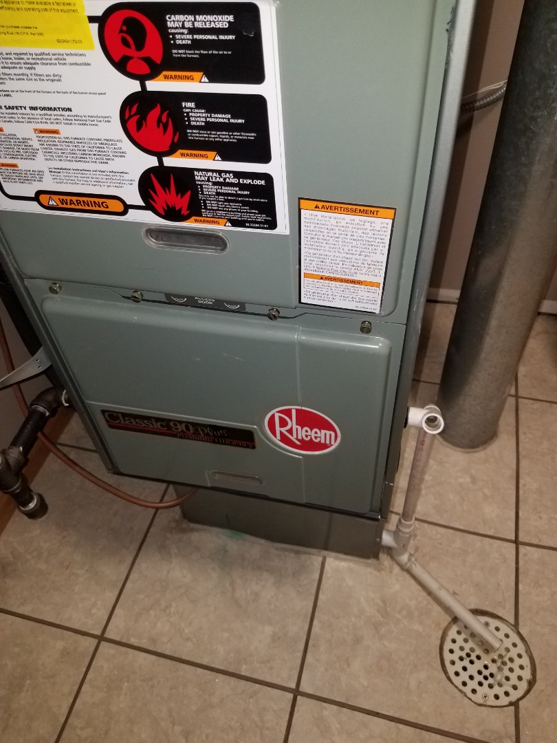 Rogers, MN - No heat call in Roger's. Found a bird inside exhaust piping causing a restriction and issues with heating. Removed obstructions and tested system operation. Rheem furnace now heating and operating
