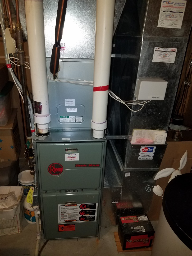 Saint Michael, MN - Heating maintenance. Performed a cleaning and tune up on a Rheem furnace.