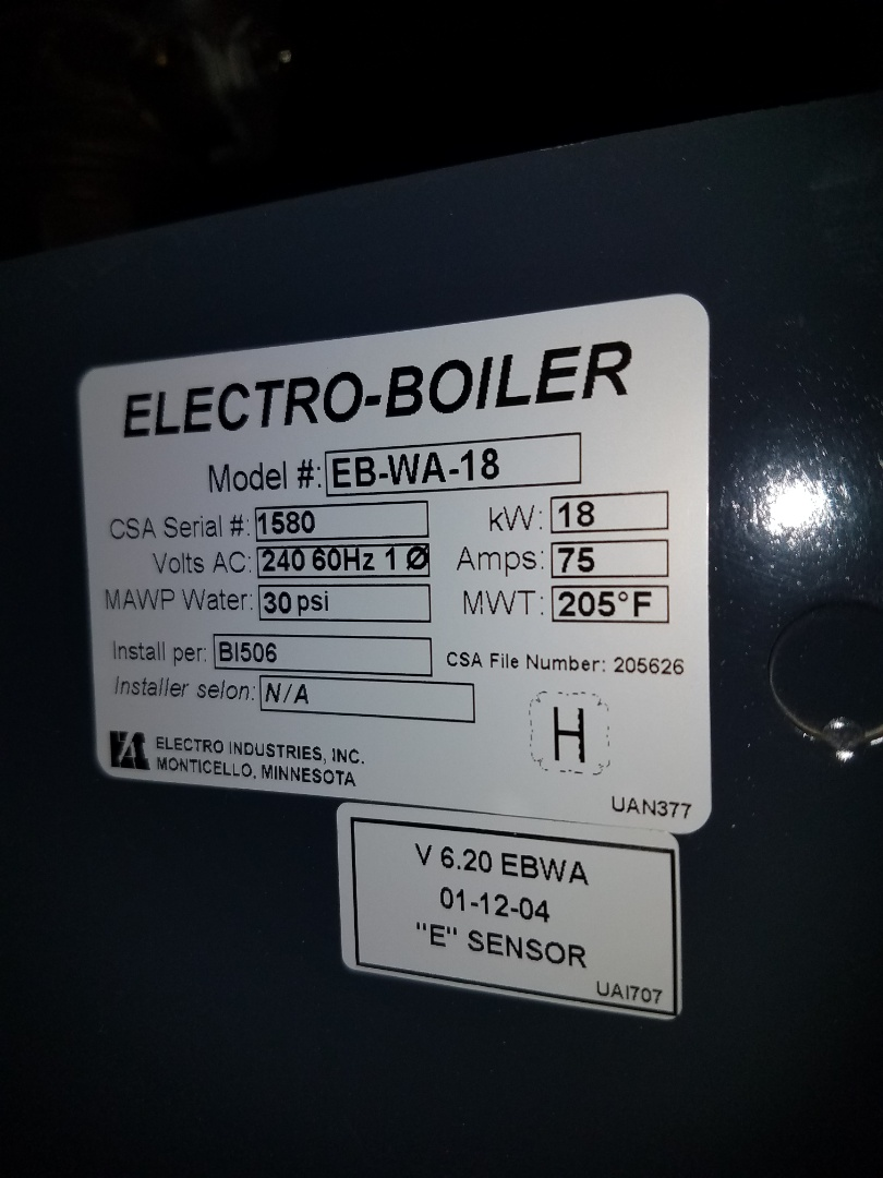 Loretto, MN - Boiler service. Installed a boiler pressure gauge on a Electro Industries electric boiler.