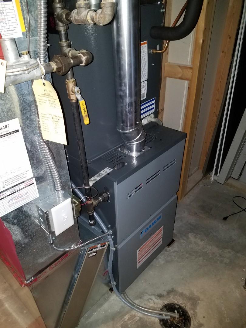 Eden Prairie, MN - Furnace service. Programmed a Pro1 thermostat on a Daikin furnace.