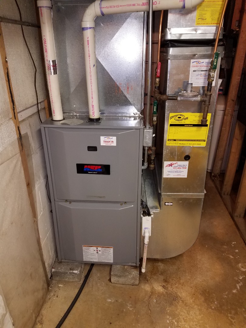 Corcoran, MN - Furnace maintenance. Performed a cleaning and tune up on a Heil furnace. Also installed a condensate drain hose.